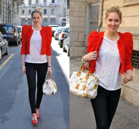 Chiara Ferragni - H&M Red Roses Jacket, Louis Vuitton Speedy Multicolor, Seven For All Mankind Jeans, Vivienne Westwood Red Melissa Shoes With - A red jacket made of roses