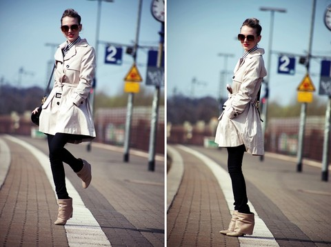 Anne B. - H&M Trench, Helmut Lang Skinny Jeans, Zara Boots, Marc By Jacobs Bag, H&M Sunglasses - Dancing at the train station