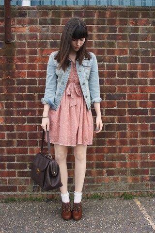 Sarah B - Denim Jacket, Camden Market Pink Dress, White Ankle Socks, Brown Wedges, Brown Bag - Revenge