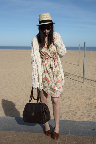 Sarah B - H&M Straw Hat, Holey Cardigan, Floral Dress, Brown Bag, Loafers - As serious as your life