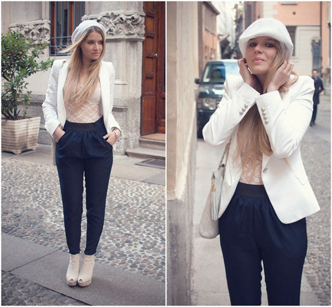 Veronica Ferraro - Zara Blazer, Urban Outfitters Bodysuit - Classic and androgyn look