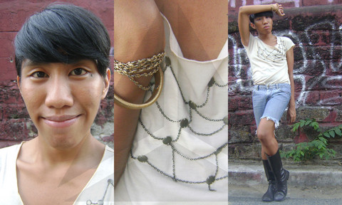 Yummiewill Brown - Sm City Santa Mesa Metal Necklace, Friend Windy Lim Metal Bracelet, Mental Cotton Shirt, Guess? Cutoff Jeans, Esprit Leather Boots - PerfectForIsangDaan