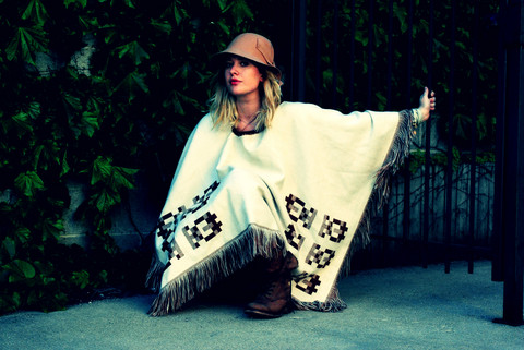 Margaret Mary - Steve Madden Cognac Utility Boot, Vintage Egyptian Reversible Poncho, Urban Outfitters Felt Cloche, Nicole Apostoli White Leather Wrap Braclet - Your love is everything