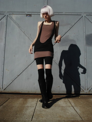 Biz C - Anzevino & Florence Sling Tank, Bobi Ribbed Tank Dress, Ph8 Bike Shorts, Nordstrom Socks, The Frye Company Lace Up Boots - Wrestle