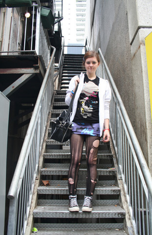Natascha C - H&M Fashion Against Aids Tshirt, SuprÉ Satin Dress, Boys Hoodie, Ripped Tights, Adidas Bag, Converse High Tops - Can we pretend that ✈ ✈ ✈ in the ☽☁ are like shooting ✰✰? i could really use a wish right now.