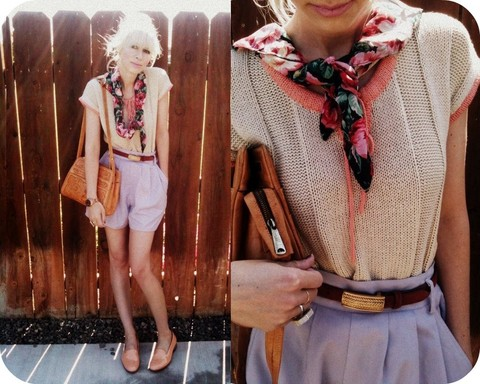 Coury Combs - Vintage Shorts Made From Pants, Vintage Leather Mexican Purse, Tenoversix Floral Scarf, Dieppa Restrepo Peach Loafers - Give me the simple life.