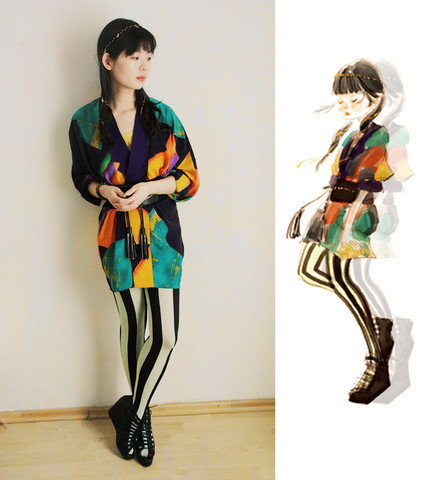 Nancy Zhang - From We Love Colors Tights, Christian Dior Blazer, Asos Accessories - We Love Colors