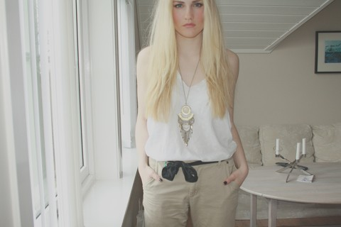 Elise M - Johnny Leave Home Chinos, H&M Necklace - This isn't the place for those violin strings