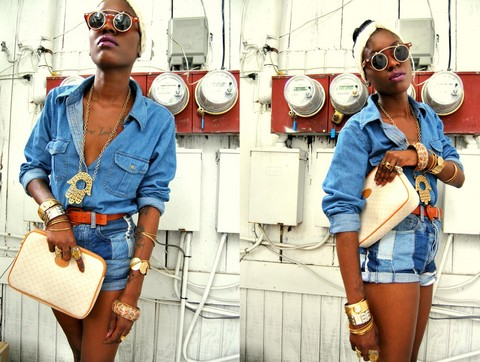 VintageVirgin Jessica - Forever 21 Vintage Bangles/Watches And Ring, Thrifted Vintage Faux Denim Man Shirt, Thrifted Vintage Patchwork Denim Hi Waist Distressed Shorties, Gucci Vintage Tan White Clutch, Diyed Diy Floral Lace Headwrap, Buffalo Exchange Dwayne Wayne Glasses, Thrifted Vintage Henna Hand Necklace - A LITTLE DENIM on DENIM ACTION.../msvintagevirgin.blogspot.com