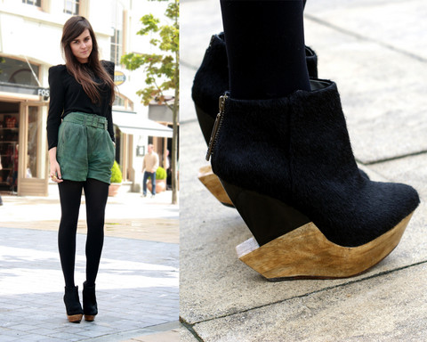 Andy T. - Vintage Leather Shorts, Finsk Wedges - KILLER SHOES
