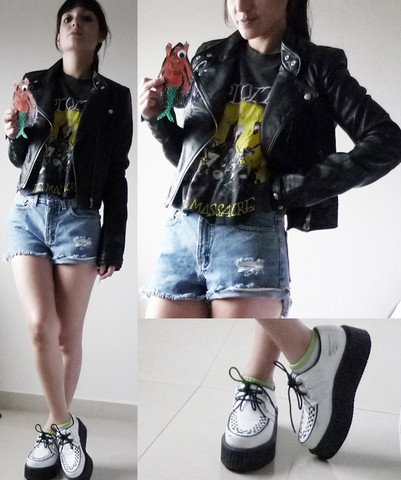Ninjaintherun Kalahari - Leather Jacket, The Exploited Tshit The Massacre, Denim Shortshorts, B&W Creepers, Mutant Sirena By Taquitojocoque! - Taquitojocoque
