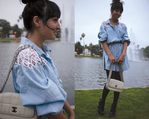 Anika Idol - Rodarte Shoes, Chanel Bag, Vintage Dress - Denim and Lace. (Inspired by Dolly)