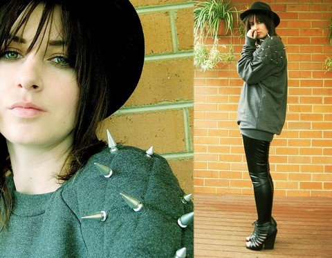 Tamara Cordon - Thrifted Hat, Topshop Studded Sweater, Ebay Leather Pants, Dolce Vita Cut Out Booties - Ignorant piece of shit