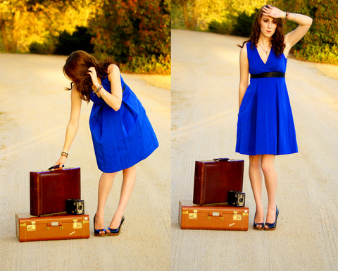 Michelle Elizabeth R - Vera Wang Bright Blue Dress, Platform Peeptoe Heels, Thifited Suitcase, Thrifted Suitcase, 1930s Brownie Camera - Standin' on the corner, suitcase in my hand.