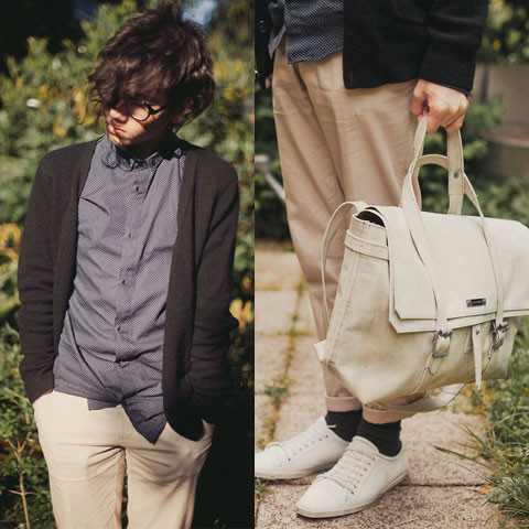 Pascal Grob - Moscot Glasses, H&M Dotted Button Down Shirt, A.P.C. Wool Cardigan, H&M Trousers, Freitag Das Magazin X Messenger Bag, Swear Shoes - 4627228535