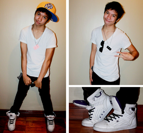 James Jason Martin - Dc Men's Galactica (White), New Era San Francisco Fitted Round Cap, Maldita Audio Tape Necklace, Ray Ban Wayfarer, Bench Body V Neck Shirt, Penshoppe Black Slim Fit Jeans - The Simpler, the Better.