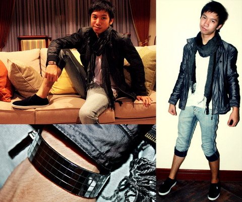 James Jason Martin - 101 New York Microfiber Jacket, Topman Black And Gray Scarf, Bench Body V Neck Shirt, Human Skinny Light Denim Jeans, Folded & Hung Disco Bracelet, Advan Slip On Flat Shoes - Just got home from Philippine Fashion Week