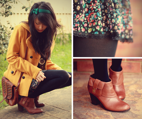 Connie Cao - Handmade By Kani Headband, Target Mustard Coat, Jayjays Skirt, Urban Outfitters Boots, Thrifted Vintage Bag, Forever 21 Necklaces - Pocket boots!!