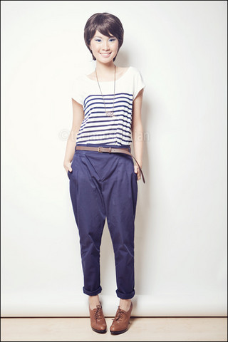 Tricia Gosingtian - Zara Breton Stripe Top, Zara Tapered Pants, Nine West Oxfords - 060110