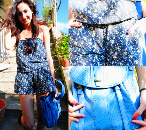Clara S. - H&M Big Sunglasses, Stradivarius Floral Jumpsuit, André Blue Bag - Drugs, not hugs