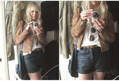 Sofie Ekstrom - Made In The Shade Suede Jacket, Gina Tricot Leather Shorts - 100606