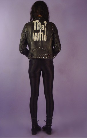 Bobo Woodlake - Studded The Who Leather Jacket, American Apparel Blk Spandex Disco Pants - Who Are You?