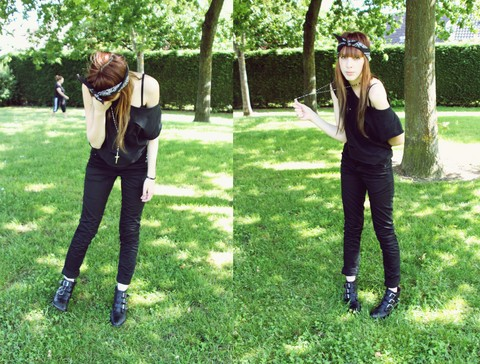 Bee-Kim G. - Cheap Monday Black Pants, Myriama's Gift Black Boots, Hand Made Black Shirt, Black Bandana - The World Is Black