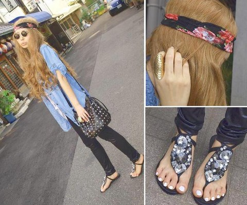 Asami Takata - Forever 21 Flower Headband, Zara Flat Sandal, Zara Dungaree Shirts, Zara Leggings - I feel summer breeze.