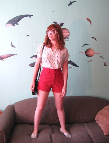 Heart City - Yard Sale Sunnies, Vintage 60s Shirt, Vintage Red Shorts, Vintage Black Purse - Whales in space