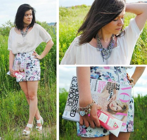 Fashionelka Eliza - Bershka Blouse, H&M Skirt, H&M Wedge, Accesorizze Bracelet, New Look Necklace - Http://fashionelka.pl