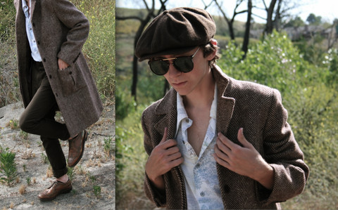 Chris McLaughlin - Meow Brown Hat, Anastasia Shades, Carlson Brown Tweed Trenchcoat, Hand Made Thin White Shirt, Levi's® Brown 511's - Brown clown