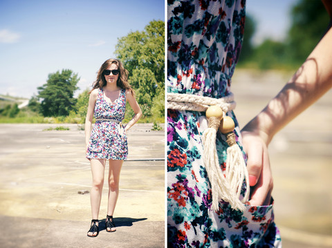 Hayley Robot - Forever 21 Floral Dress, Rope Belt, Urban Outfitters Black Wayfarers, H&M Lace Up Gladiator Sandals - THENORTHEAST.CA
