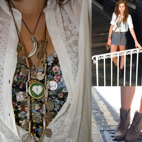 Rebecca O - Zara Shirt, Portobello Market Clock Necklace, Portobello Market Coins Necklace, Topshop Flower And Studds Bustier, H&M Slip Skirt, Camden Market Pointy Boots - Whats the time Mr Wolf?