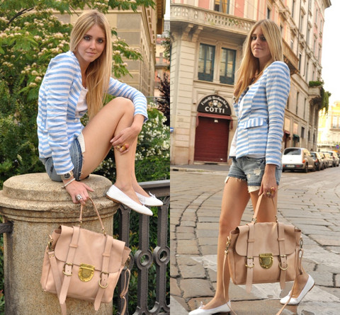 Chiara Ferragni - Queen's Wardrobe - Light blue striped jacket and giant bag