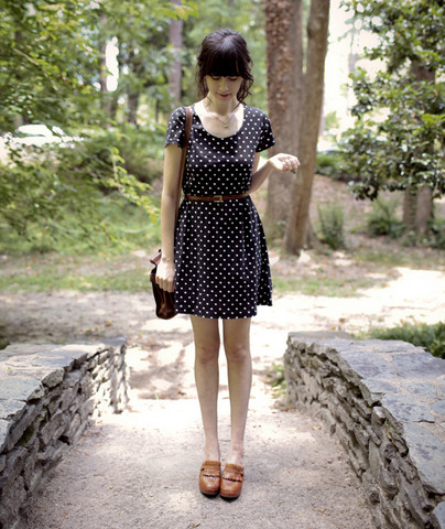 Rhiannon Leifheit - Thrift Store '90s Dress, 9 West '70s Clogs, Perry Ellis Satchel, Thrift Store Belt - Polka dots and clogs