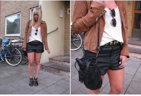 Sofie Ekstrom - Zara Bag, Gina Tricot Leather Shorts, Made In The Shade Suede Jacket - Look of today