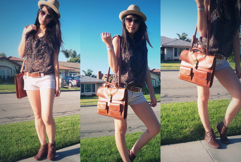 Joy Chen - American Eagle Khaki Shorts, Brown Bag, Fedora, Reformed Floral Shirt - Now I believe that this is fate