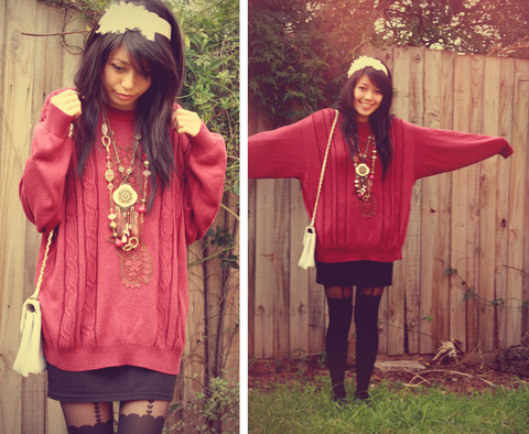Connie Cao - Forever 21 Headband, Vintage Jumper, Diva Necklaces, Topshop Tights, Vintage Bag - Lounging in my maroon vintage oversized jumper