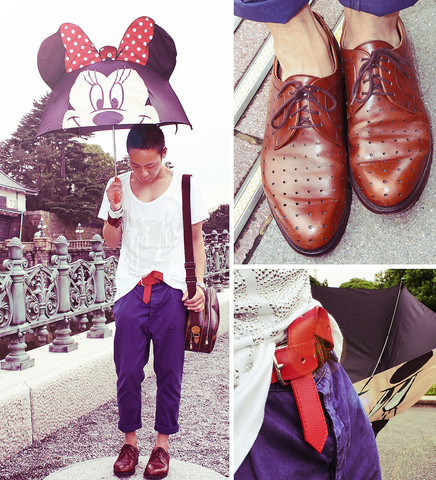 Dennis Robles - Goodyear Perforated Laceups, Topman Navy Carrot Pants, Comme Des Garçons Red Belt, Zara Shirt With Silver Studs, Disney Minnie Mouse Umbrella, Louis Vuitton Reporter Bag - Tokyo look # 261
