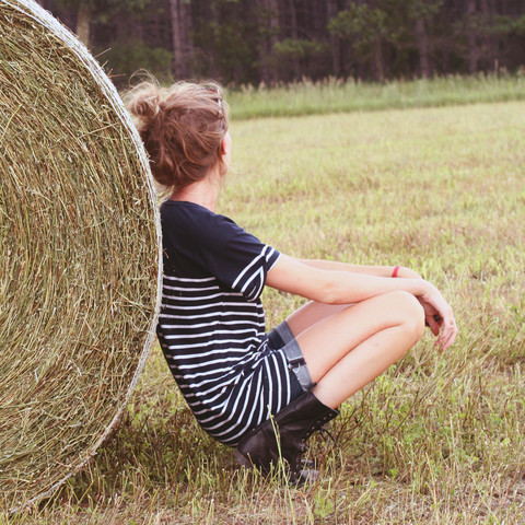 Leslie K - Gap Striped Tee, True Religion Cutoff Jean Shorts, Topman Black Combat Boots - I think this haystack gave me fleas