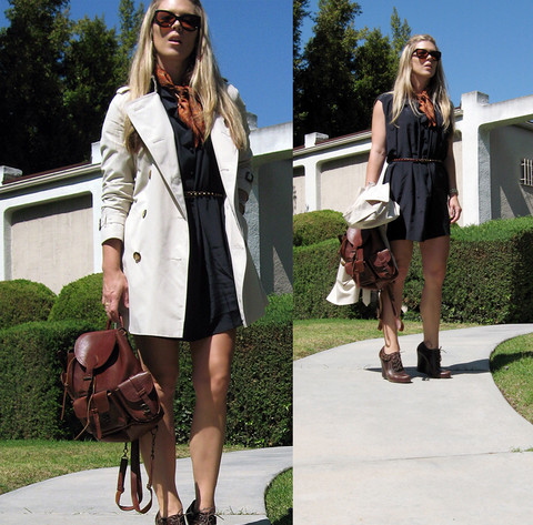 Maegan Tintari - Burberry Trench Coat, No Brand Leather Backpack, Via Spiga Lace Up Wedges, Tom Ford Cat Eye Sunglasses, Eryn Brinie Silk Shirt Dress - The Leather Backpack