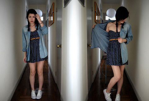 Sassy .. - Zara Strapess Polka Dot Dress, H&M Boyfriend Denim Shirt - SAVE TONIGHT