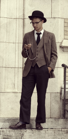 Wesley Kirk - Utility White Oxford, Coleman Pocketwatch, Dobbs Bowler Hat, Adams Row Tweed Suit, Tweed Vest, Express Grey Slacks, Bostonian Brown Dress Shoes, Target Black Skinny Tie - The Time Traveler.