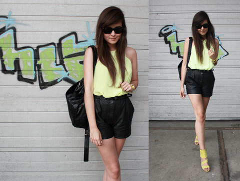 Andy T. - Vintage Leather Shorts, Zara Yellow Shoes, H&M Trend Top, Skull Backpack, Ray Ban Ray Ban Wayfarers - I ALREADY KNOW, I JUST DO...