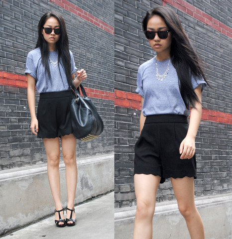 Meijia S - American Apparel Simple T Shirt, Scalloped Shorts, Local Store Black Heels, Alexander Wang Bag, Online Rhinestone Necklace - Grey t-shirt and rhinestone necklace
