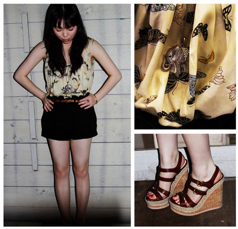 Diane C - Prada Wedges, Twenty8twelve Dress Worn As Top, Vivienne Westwood Shorts - What Would I Want? Sky - Animal Collective
