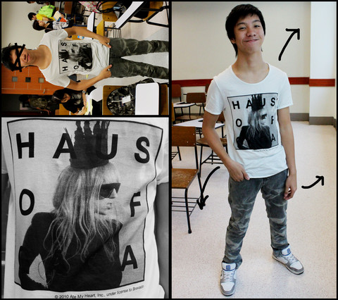 James Jason Martin - Topman White Haus Of Gaga Shirt, Folded&Hung Whisp Skinny Jeans (Gray), Zoo York Fairview High Cut Shoes - Gaga on school
