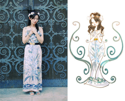 Nancy Zhang - Zara Dress - Blue white porcelain in my birthday