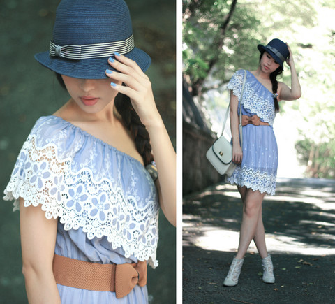 Mayo Wo - Uniqlo Bow Fedora, Nine Cornflower Blue Lace Off Shoulder Dress, Pippee Lace Ankle Boots - Cornflower