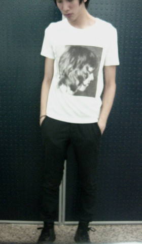 Leon Lee - Lad Musician Another Hot Rocks Tee, Dior Homme Pants, Bed Stu Laced Up Combat Boots - Simplicity